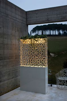 Ludovica and Roberto Palomba Dafne And Demetra Pot And Lamp - Partition, vase and lamp, several functions combined in a single, highly appealing element with strong visual and theatrical impact. Exterior Lighting, Outdoor Lighting, Outdoor Decor, Outdoor Lamps, Outdoor Pots, Backyard Lighting, Lamp Design, Lighting Design, Lighting Ideas