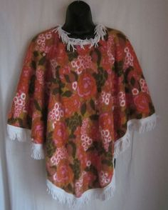 St Michael VTG 60's Terry Cloth Fringed Floral Hippie Boho Poncho One Size UK #StMichael #Poncho #Casual