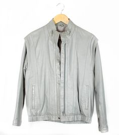Vintage 80s Leather Jacket Pale Grey Bomber Style by FannyAdamsVC