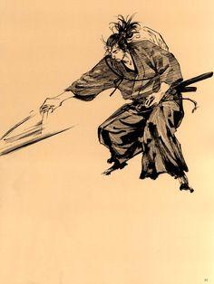 Minamoto Musashi leaping to deliver the death blow. Manga Anime, Vagabond Manga, Inoue Takehiko, Ninja, Samurai Artwork, Miyamoto Musashi, Western Comics, Manga Artist, Manga Pages
