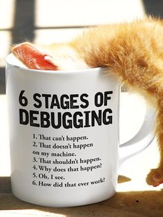 6 Stages of Debugging Bug Coding Computer Science Programmer Gift Ingenieur Humor, Computer Science Major, Gifts For Programmers, Fun Stuff, Geek Stuff, Funny Mugs, You're Awesome, Stand By Me, Adulting