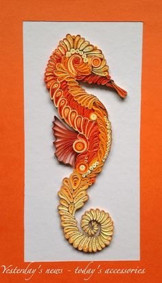 Paper quilling seahorse, 14 x 27 cm, 3 mm strips, finished with water based acrylic varnish