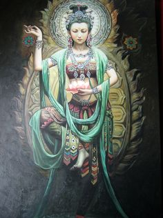 """Kwan Yin (or Guanyin) by Phaedri -- is the bodhisattva associated with compassion as venerated by East Asian Buddhists, usually as a female. The name Guanyin is short for Guanshiyin, which means """"Observing the Sounds (or Cries) of the World"""". It is generally accepted among East Asian adherents that Guanyin originated as the Sanskrit Avalokiteśvara (अवलोकितेश्वर). Commonly known in English as the Goddess of Mercy."""