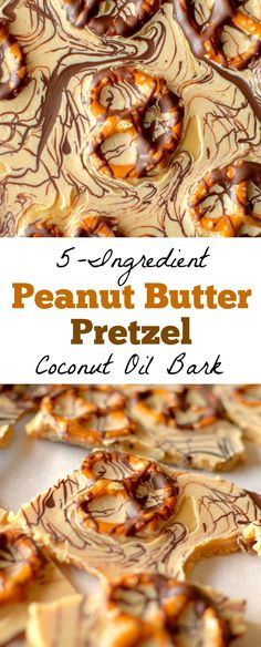 Ingredient Peanut Butter Pretzel Candy Bark {Vegan + Gluten-free option Only 5 ingredients are needed to create this tasty, decadent Peanut Butter Pretzel Candy Bark! Vegan-friendly, dairy-free with a gluten-free option! Best Vegan Recipes, Dairy Free Recipes, Snack Recipes, Keto Snacks, Delicious Recipes, Coconut Oil Recipes Food, Pretzel Recipes, Gf Recipes, Chili Recipes