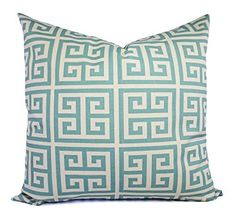 Blue and Cream Throw Pillow Cover in Custom Sizes - Greek Key Decorative Pillow Sham - Spa Blue Pillow Cover - Lumbar Pillow Euro Sham. One blue and cream decorative throw pillow cover in Premier Prints Village Blue Towers. The decorative pillow sham is 100% cotton in a spa blue and beige greek key print. This listing is for pillow cover/s only. You can find the inserts at most home goods stores or craft stores. All covers are made to order, and production time is 4-7 business days…
