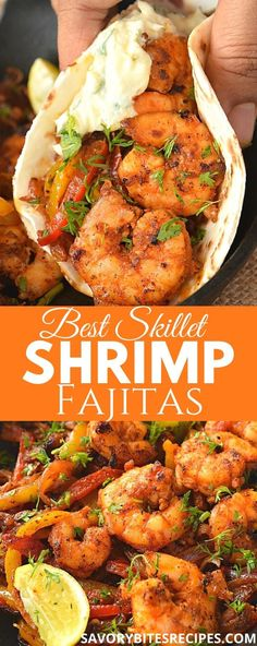 Very spicy,delicious and easy Skillet Shrimp Fajitas! Enjoy these with sour cream topping! Very spicy,delicious and easy Skillet Shrimp Fajitas! Enjoy these with sour cream topping! Spicy Recipes, Seafood Recipes, Cooking Recipes, Healthy Recipes, Healthy Mexican Food, Easy Mexican Food Recipes, Low Sodium Recipes, Easy Recipes, Shrimp Fajita Recipe