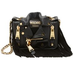 Moschino Motorcycle Bag (121.135 RUB) ❤ liked on Polyvore featuring bags, handbags, shoulder bags, black, crossbody handbags, leather cross body purse, fringe crossbody, fringe crossbody purse and faux-leather handbags