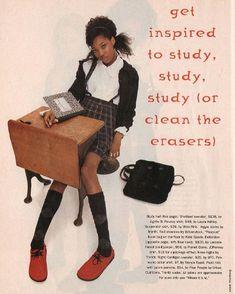 "Sassy, August 1994 - ""School Girlies"" fashion spread, page 5 Sassy Magazine, Bikini Kill, Librarian Chic, Argyle Socks, Suspender Skirt, Black Image, Red Shoes, Birkenstock, Baby Dolls"