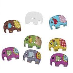 Gran Venta 8 Unids Color Mixto Formado Elefante Artesanías Botón de Costura de Madera Scrapbooking 2 Agujeros de costura artesanal botón