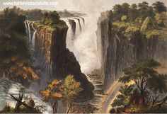 The Falls from the western end of the chasm - In 1862 British artist and explorer Thomas Baines visited the Falls and created lushly rendered paintings of the site. These works were exhibited, published as chromolithographs, and made into lantern slides. Days Of Creation, Caspar David Friedrich, Horsemen Of The Apocalypse, Thing 1, Victoria Falls, Old Art, Colorful Drawings, Fine Art, Art Prints