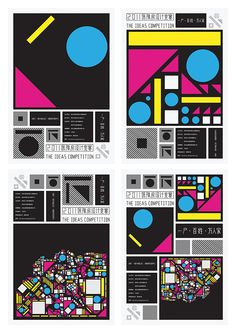 """These posters visualise the three topics of the competition """"The Ideas Competition 2011"""" at the Shenzhen Center for Design: """"1 Unit"""", """"100 Families"""" and """"10000 Residents"""". The core elements in the Center for Design logo (triangle, circle, rectangle and square) were employed to develop an identity system. Arranged in different combinations, these elements form not only the competition logo but also three visual images for the different themes."""