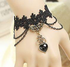 Handmade Obsidian Heart Black Lace Classic Lolita Bracelet