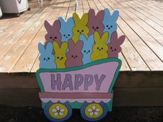 Handmade painted Easter Train Bunny car by tomscraftcastle on Etsy