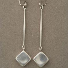 """Gallery 925 - Georg Jensen """"Mod"""" Earrings by Astrid Fog, no. 152, Handmade Sterling Silver"""