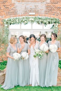 This wedding though.her dress, bridesmaid dresses.simple flowers Bridesmaids In Green Sequinned ASOS Dresses - Godwick Hall Wedding With Bride In Anna Georgina Bridesmaids In Green Sequinned Dresses Images From Sarah Jane Ethan Photography Bridesmaid Bouquet White, Pastel Bridesmaid Dresses, Bridesmaid Dresses With Sleeves, Blue Bridesmaids, Wedding Bridesmaids, Bridesmaid Colours, Western Bridesmaid Dresses, Asos Bridesmaid Dress, Asos Wedding Dress