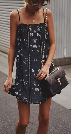 #summer #outfits Little Black Printed Dress + Brown Printed Shoulder Bag