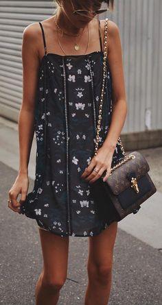 #summer #outfits Little Black Printed Dress + Brown Printed Shoulder Bag