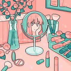My name is Emily Kim and I enjoy making digital art. I am an 18 year old student who does art on the side. Aesthetic Drawing, Aesthetic Art, Aesthetic Anime, Arte Do Kawaii, Kawaii Art, Cartoon Kunst, Cartoon Art, Japan Design, Arte Copic
