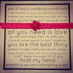CD wedding favors with all songs from the wedding! Lyrics from songs on the cover!