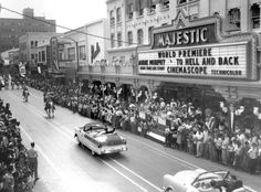 "TO HELL AND BACK - Audie Murphy participates in a downtown parade for the premiere of ""To Hell and Back"" - Majestic Theatre - San Antonio, TX. San Antonio River, Downtown San Antonio, Texas Vacation Spots, Texas History, History Pics, Local History, Houston Street, Texas Hill Country, Great Memories"