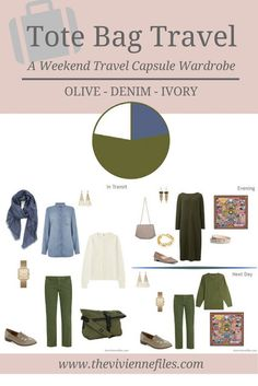 A weekend travel capsule wardrobe in a denim, ivory, and olive color palette