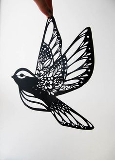 Paper Cut (Design, cool tattoo idea). Maybe a small bird similar to this in water color at the end of a quote like let it be