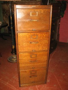 Four Drawer Oak Filing Cabinet With Panelled Sides And Brass Handles Made  By Arthur Foote Of Manchester.