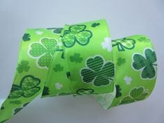 Green Shamrock Ribbon Clover Ribbon St Patricks by DanJSupplies