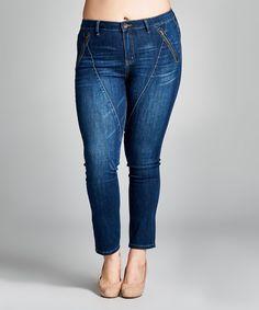 Dark Blue Zip-Pocket Skinny Jeans - Plus
