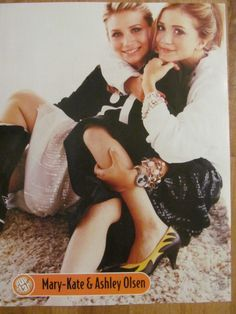 Mary-Kate and Ashley Olsen, Twins, Avril Lavigne, Double Full Page Vintage Pinup