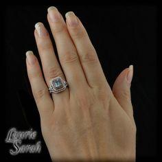 Emerald Cut Aquamarine Engagement Ring Set by LaurieSarahDesigns, $3330.75