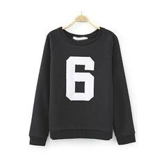 Black Round Neck 6 Print Loose Sweatshirt (€18) ❤ liked on Polyvore