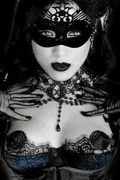 sexy goth style girl wearing lace mask showing perky tits with tassels Bettie Page, Dark Beauty, Gothic Beauty, Gothic Glam, Gothic Lolita, Masquerade Ball Party, Architecture Tattoo, Vampire, Dale Chihuly