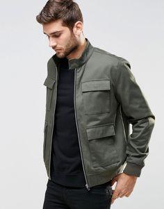 ASOS+Harrington+Jacket+With+Four+Pocket+Detail+In+Khaki