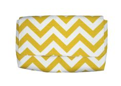 Yellow & White Chevron Cotton Clutch with Gray damask lining by JetSetCoco, $55.00