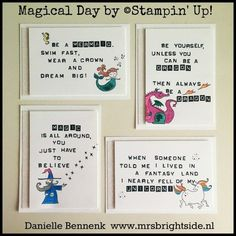 Quote cards for On Stage display Myths & Magic product suite with Magical Day stamp set by Stampin' Up! - Danielle Bennenk www.mrsbrightside.nl