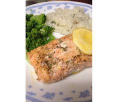 Lemon pepper salmon, cilantro lime white rice, and steamed broccoli.