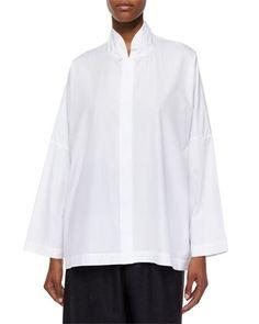 Sloped-Shoulder+Imperial+Shirt,+White+by+eskandar+at+Neiman+Marcus.