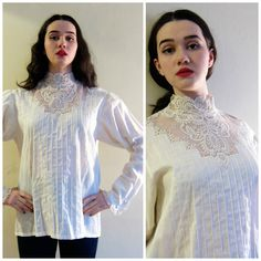 Vintage 1970s Neo-Edwardian Blouse with Lace / 70s Romantic Shirt with Back Button Closure / Large by BasyaBerkman on Etsy