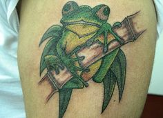 green frog 30 Brilliant Frog Tattoos