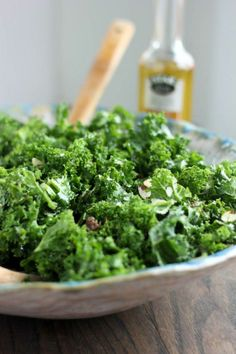 Aunt Marion's Kale Salad with Garlic-Shallot Vinaigrette | @Cassie G G Laemmli | Bake Your Day