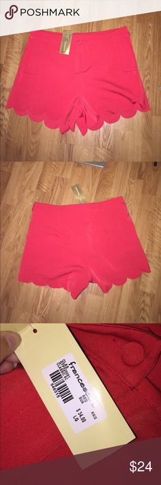 NTW Francesca's red scalloped shorts Bright red, so cute & preppy, 3in long never worn size rec 10 or 12 Francesca's Collections Shorts