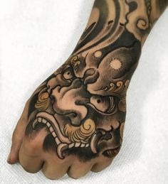 dog tattoo Sleeve Heart is part of Best Foo Dog Tattoo Ideas Inkme Tattoo - Japanese style brand tattoo by FIBS Art Japanese Hand Tattoos, Tattoo Japanese Style, Japanese Tattoo Symbols, Japanese Tattoo Designs, Head Tattoos, Dog Tattoos, Dragon Hand Tattoo, Foo Dog Tattoo, Hand Tattoos For Guys