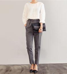 masculine pants + white blouse + clutch