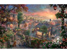 Disney Dreams Art - Thomas Kinkade Lady and the Tramp Limited edition Canvas - Thomas Kinkade Online