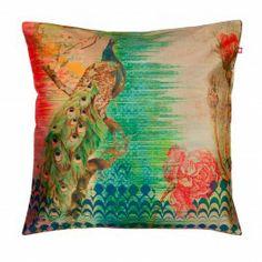 Peacock Flower Poly Taf-Silk Cushion Cover