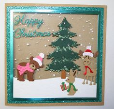 Handmade Christmas Card - Cottage Cutz Bear, Moose & Rabbit.  For more of my cards please visit the CraftyCardStudio on Etsy.com.