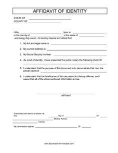 This Free Printable Affidavit Serves To Identify A Person For Employment And Legal Purposes Letter Of Employment Statement Template Birth Certificate Template