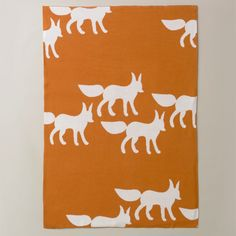 Graphic Knit Blanket, Foxes Orange [B-05-31] - $68.00 : DIGS, Free shipping on orders over $50 :: modern furniture, housewares, decor and gift items.