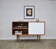 Whitewater Record Cabinet with Pull-out Shelf - Solid Cherry - Teak / White…